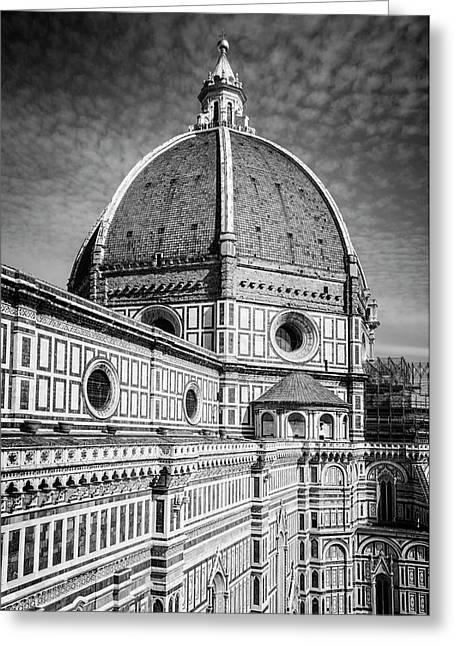 Greeting Card featuring the photograph Il Duomo Florence Italy Bw by Joan Carroll