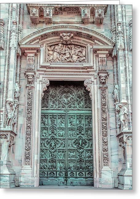 Il Duomo Portal Milan Italy Greeting Card