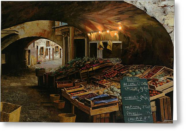 Il Mercato Francese Greeting Card by Guido Borelli