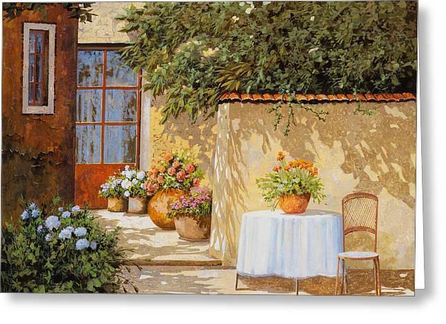 il muretto e il tavolo Greeting Card by Guido Borelli