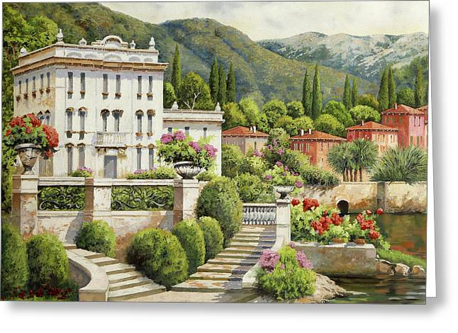 Il Palazzo Sul Lago Greeting Card by Guido Borelli