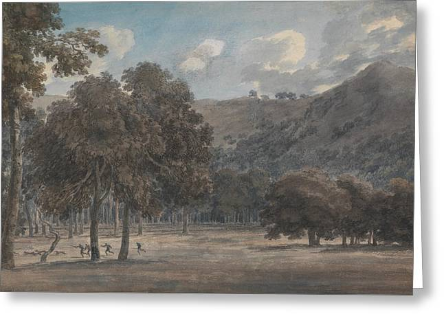 Il Parco Degli Astroni - The Wooded Crater Bottom With Hunt In Progress Greeting Card by John Robert Cozens