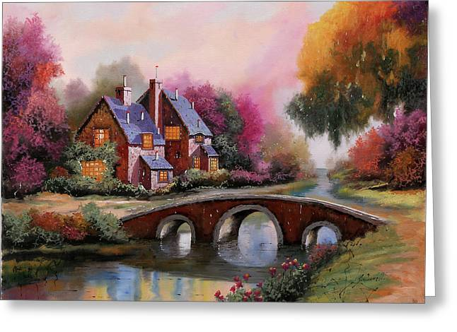 Il Ponticello A Colori Greeting Card by Guido Borelli