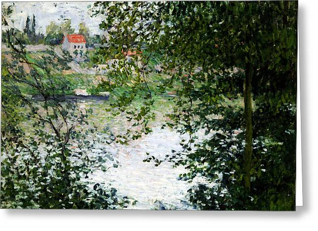 Ile De La Grande Jatte Through The Trees Greeting Card by Claude Monet