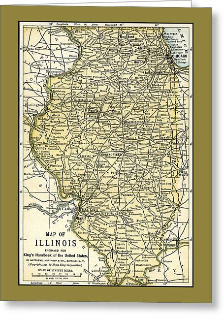 Illinois Antique Map 1891 Greeting Card