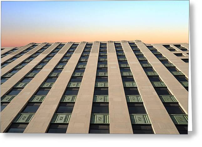 Illinois Building At Sunset Greeting Card