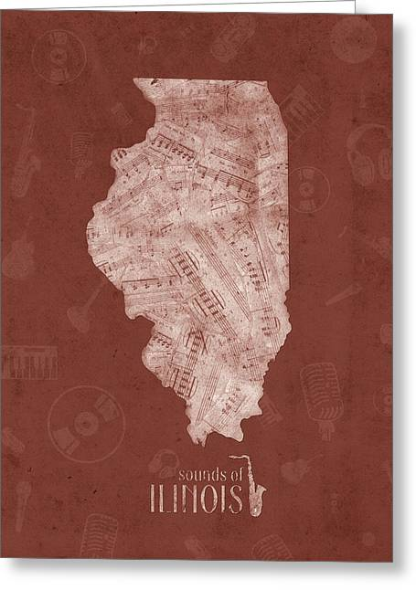 Illinois Map Music Notes 5 Greeting Card