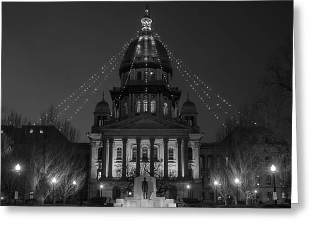 Illinois State Capitol B W Greeting Card by Steve Gadomski