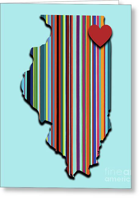 Illinois With Love Geometric Map Greeting Card