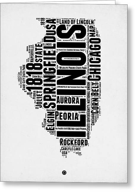 Illinois Word Cloud Map 2 Greeting Card by Naxart Studio