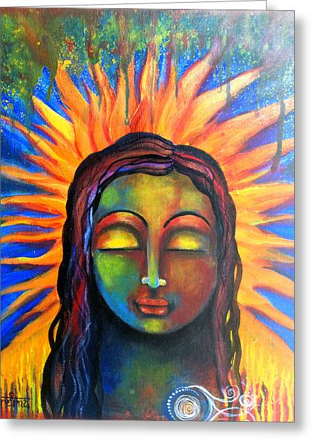 Greeting Card featuring the mixed media Illuminated By Her Own Radiant Self by Prerna Poojara