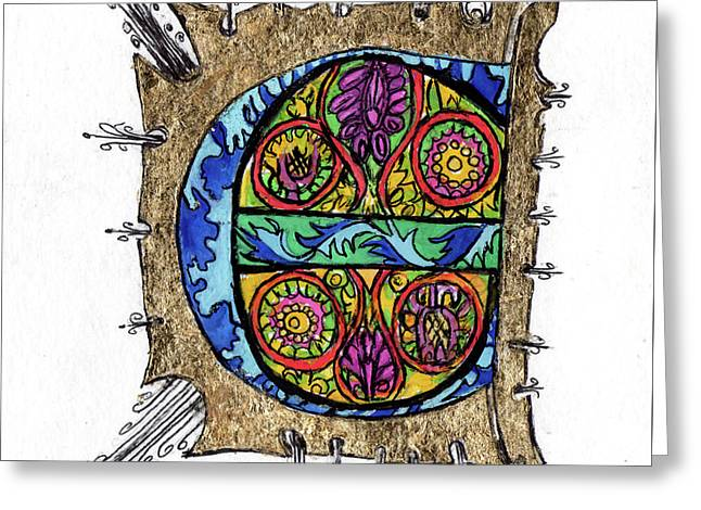 Illuminated Letter E Greeting Card