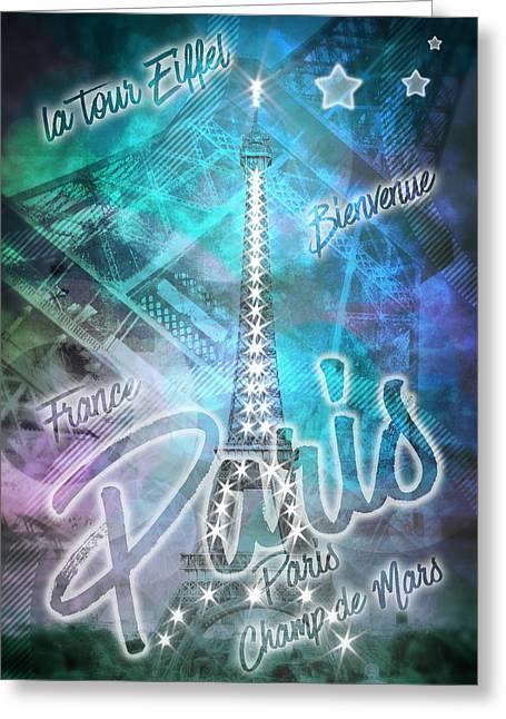 Illuminated Pop Art Eiffel Tower Graphic Style Greeting Card by Melanie Viola