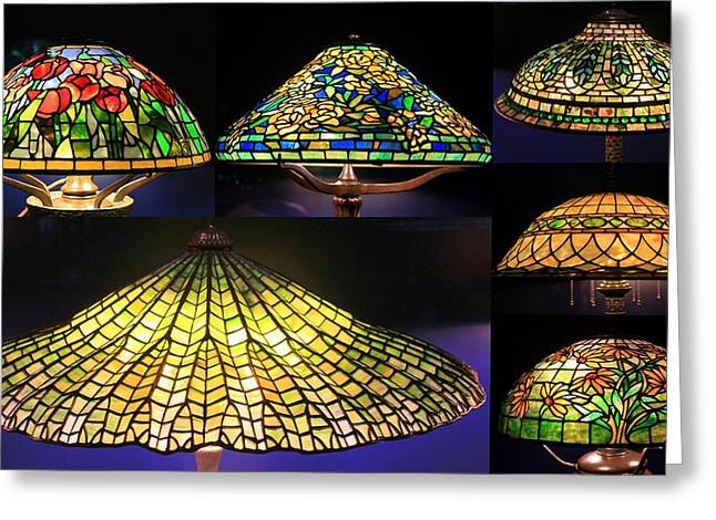 Illuminated Tiffany Lamps - A Collage Greeting Card