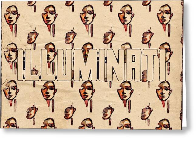 Illuminati Faces By Mb And Rt Greeting Card