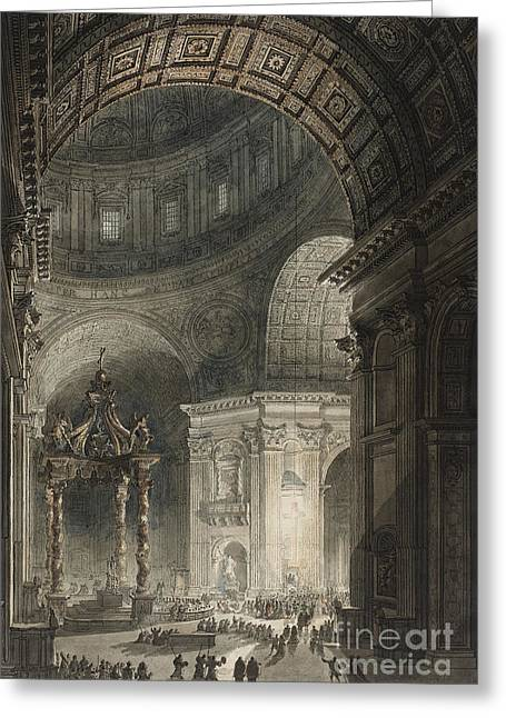 Illumination Of The Cross In St. Peter's On Good Friday, 1787 Greeting Card