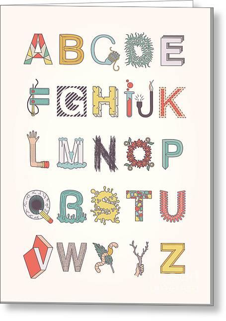 Illustrated Alphabet Greeting Card by Freshinkstain