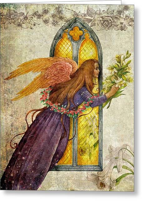 Illustrated Angel And Lily Greeting Card