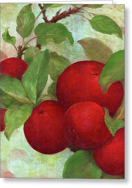 Greeting Card featuring the painting Illustrated Apples by Judith Cheng