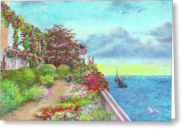 Greeting Card featuring the painting Illustrated Beach Cottage Water's Edge by Judith Cheng