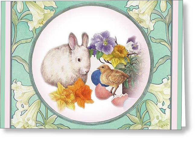 Greeting Card featuring the painting Illustrated Bunny With Easter Floral by Judith Cheng