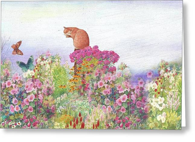 Greeting Card featuring the painting Illustrated Cat In Garden by Judith Cheng