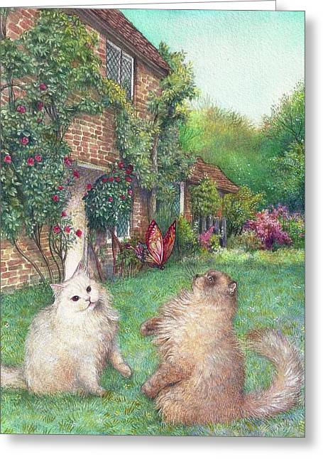 Greeting Card featuring the painting Illustrated Cats In English Cottage Garden by Judith Cheng