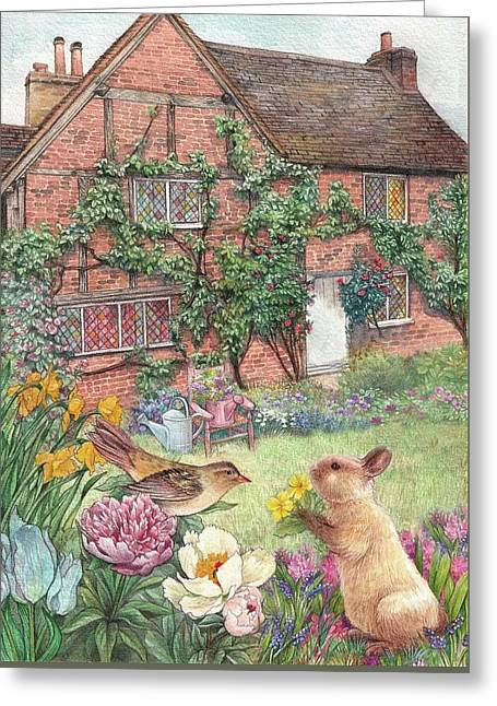 Greeting Card featuring the painting Illustrated English Cottage With Bunny And Bird by Judith Cheng