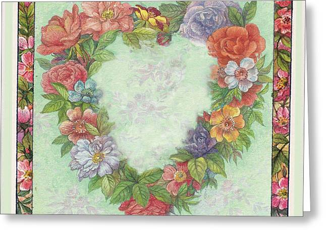 Greeting Card featuring the painting Illustrated Heart Wreath by Judith Cheng