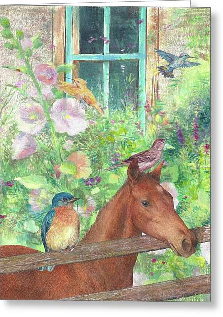Greeting Card featuring the painting Illustrated Horse And Birds In Garden by Judith Cheng