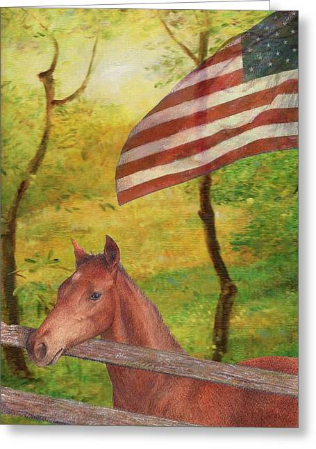 Illustrated Horse In Golden Meadow Greeting Card
