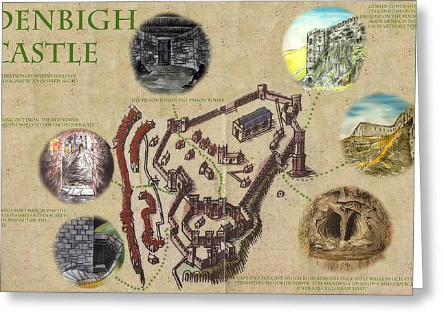 Illustrated Map Of Denbigh Castle 1611 Ad Greeting Card by Martin Williams