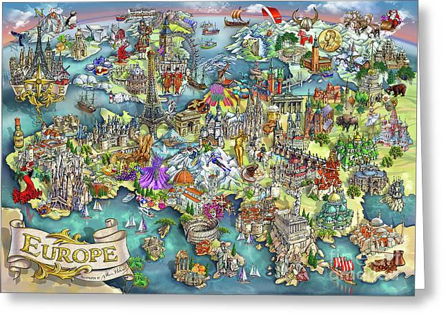 Illustrated Map Of Europe Greeting Card by Maria Rabinky