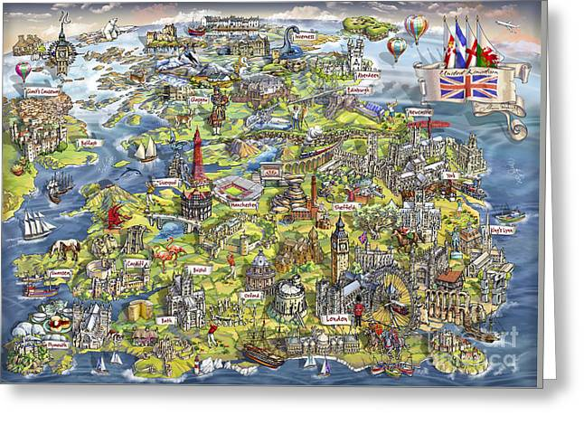Illustrated Map Of The United Kingdom Greeting Card