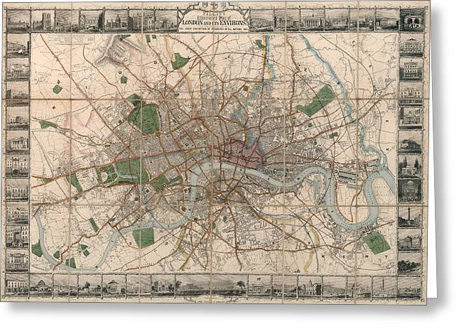 Illustrated Plan Of London And Its Environs - Map Of London - Historic Map - Antique Map Of London Greeting Card