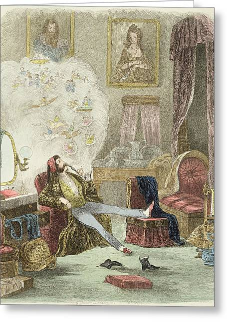 Illustration From Visitation Of A London Exquisite To His Maiden Aunts In The Country Greeting Card