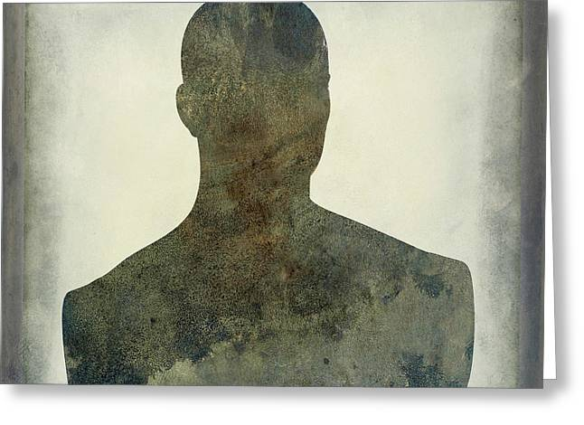 Illustration Of A Human Bust. Silhouette Greeting Card by Bernard Jaubert