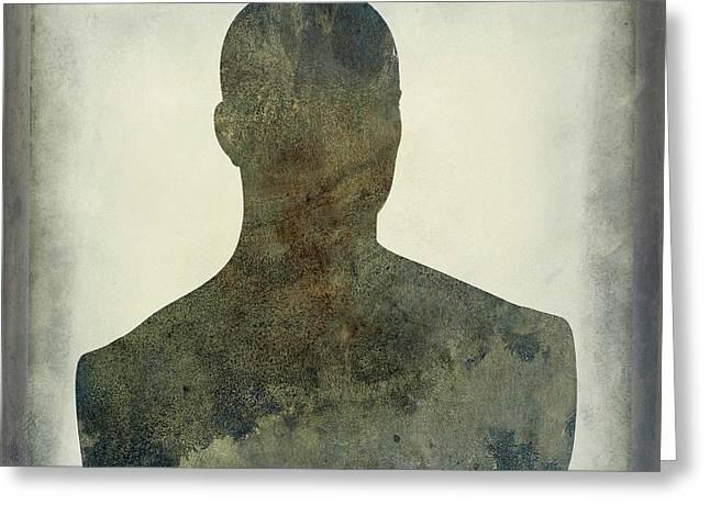 Illustration Of A Human Bust. Silhouette Greeting Card by Bernard Jaubert