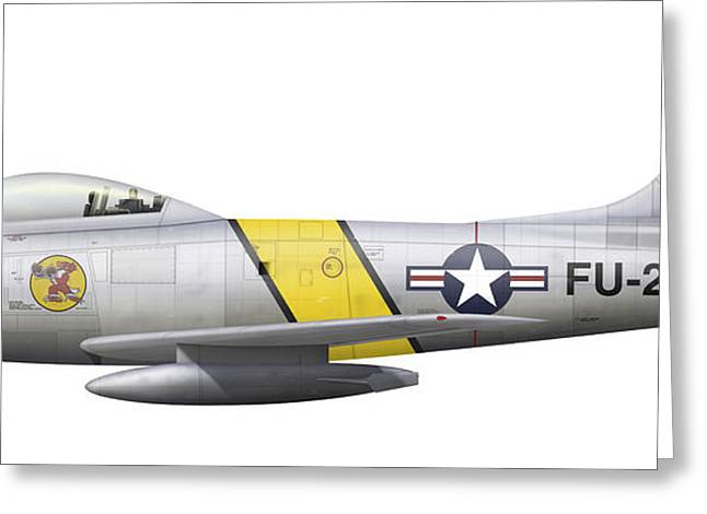 Illustration Of A North American F-86f Greeting Card by Chris Sandham-Bailey