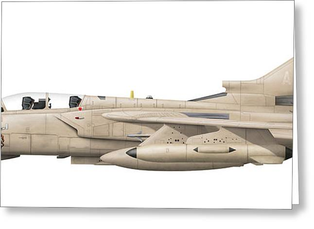 Illustration Of A Panavia Tornado Gr1 Greeting Card by Chris Sandham-Bailey