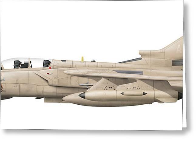 Jet Artwork Greeting Cards - Illustration Of A Panavia Tornado Gr1 Greeting Card by Chris Sandham-Bailey