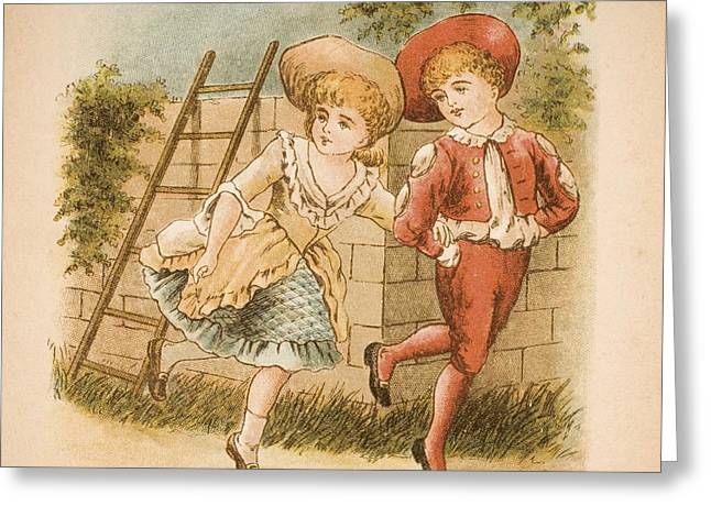 Illustration Of Girl And Boy From Old Greeting Card by Vintage Design Pics
