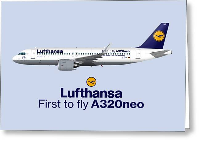 Illustration Of Lufthansa Airbus A320 Neo - Blue Version Greeting Card by Steve H Clark Photography