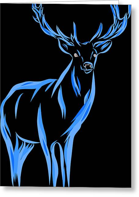 Illustration Of Red Deer Stag With Antlers Greeting Card by Matthew Gibson