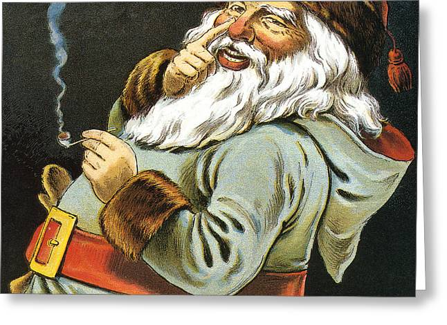 Illustration Of Santa Claus Smoking A Pipe Greeting Card by American School