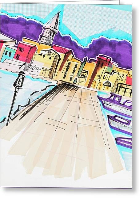 Greeting Card featuring the drawing illustration of travel, Italy by Ariadna De Raadt