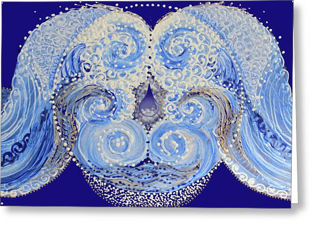 Greeting Card featuring the painting I'm A Drop In The Blue Wave. Join Me by Kym Nicolas