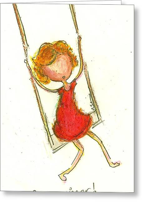 Little Girls98 Greeting Cards - Im a Swinger Greeting Card by Ricky Sencion