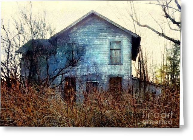 Greeting Card featuring the photograph I'm Not Home Right Now, Please Leave A Message - Abandoned Farmhouse by Janine Riley