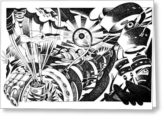 Berlin Germany Drawings Greeting Cards - Im Tired Shootin The Sun Greeting Card by Ciro Pignalosa